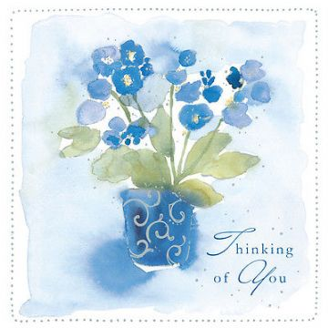 "THINKING OF YOU CARD ""BLUE FLOWERS DESIGN"" SQUARE SIZE 4.75 X 4.75 INCH EFM120"